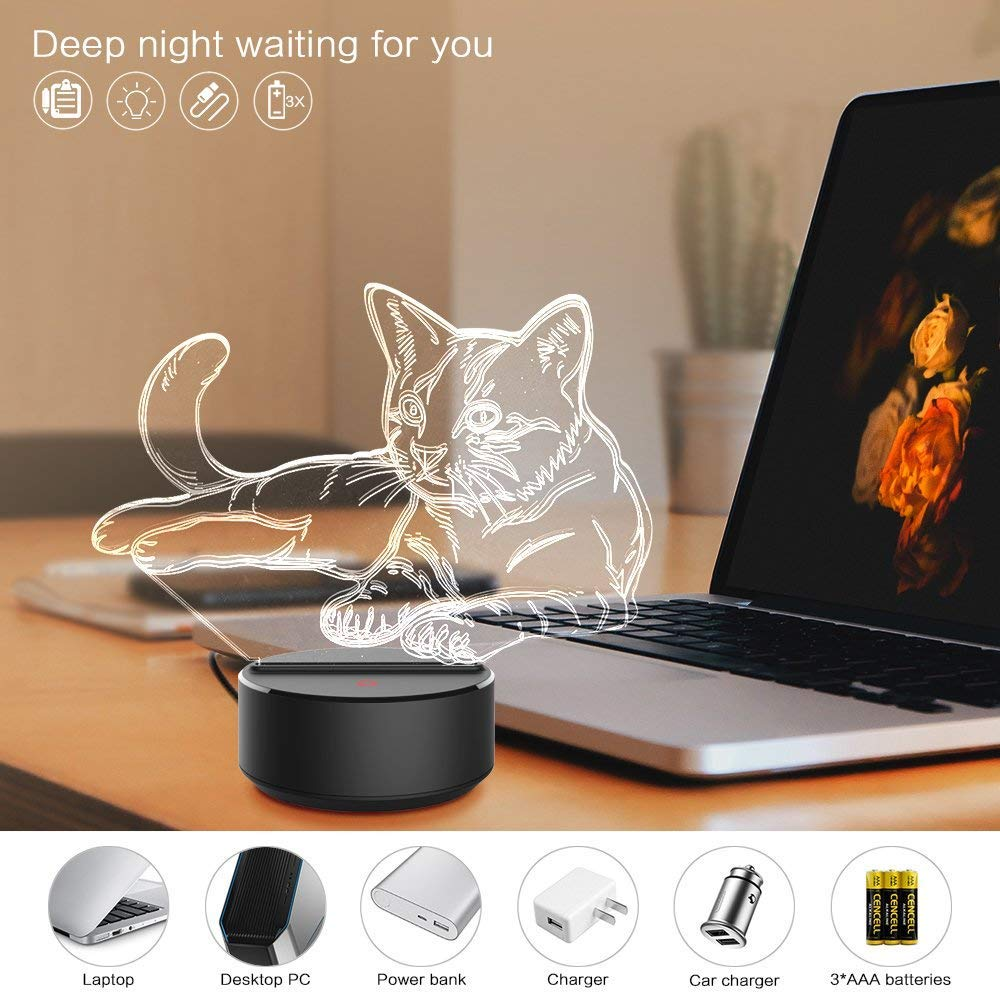 3D Night Light for Boys Girls Table Desk Lamp 7 Color Change Decor Lamp 3D Illusion Lamp Perfect Gifts Birthday Festival Christmas for Baby Teens Friends Headphone
