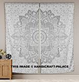 HANDICRAFT-PALACE Indian Mandala Tapestry Room Curtains Boho Chic Silver Ombre Mandala Window Curtains Panels Pair 82 Length Set of 2 For Sale
