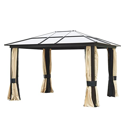Amazon.com : Outsunny 12u0027 X 10u0027 Outdoor Patio Canopy Party Gazebo W/ Mesh  And Curtains   Beige : Garden U0026 Outdoor