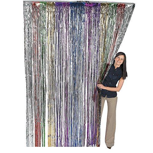 Fun Express Metallic Rainbow Foil Fringe Curtains (1 Piece) (Sweet 16 Pinatas)