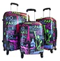 3pc Luggage Set Hardside Rolling 4wheel Spinner Carryon Travel Case Poly Paris