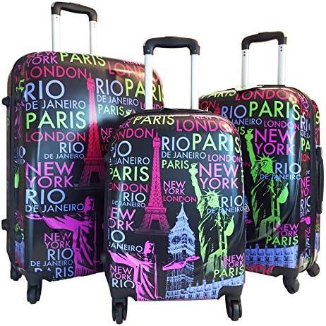 3pc Luggage Set Hardside Rolling 4wheel Spinner Carryon Travel Case Poly Paris