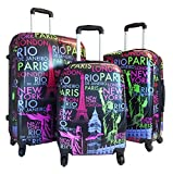 Cheap 3pc Luggage Set Hardside Rolling 4wheel Spinner Carryon Travel Case Poly Paris