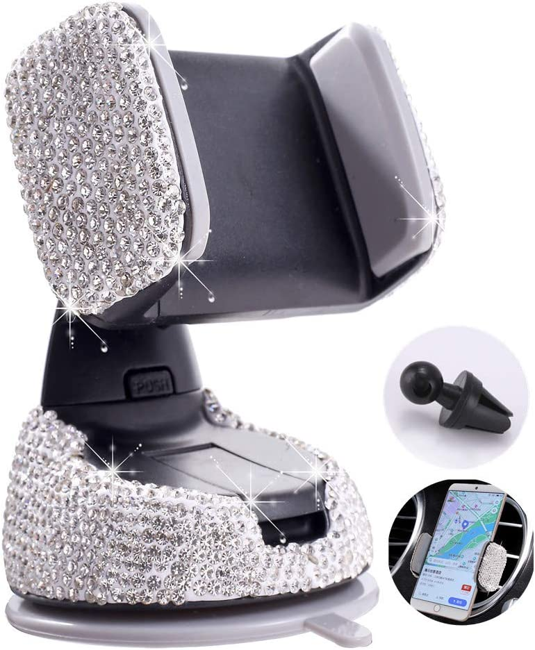 Sliver Universal Cell Phone Holder for Dashboard,Windshield and Air Vent. Bling Crystal Car Phone Mount with One More Air Vent Base
