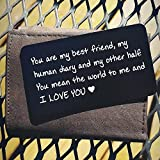 Handmade Engraved Aluminum Wallet Love Note Insert, Metal Wallet Card Insert, Mini Love Note - Romantic Gift for Him, Perfect Gift for Anniversary, Deployments, Weddings, Boyfriends, Husband
