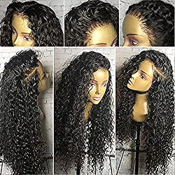 Jolitime Natural Hair Wigs Loose Curly Lace Front Wigs Synthetic Black Color 24inch