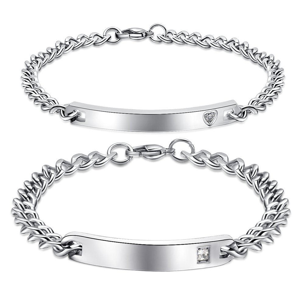 NEHZUS His and Hers Stainless Steel Personalized Bracelet Custom Engraving SSB003CP-BR