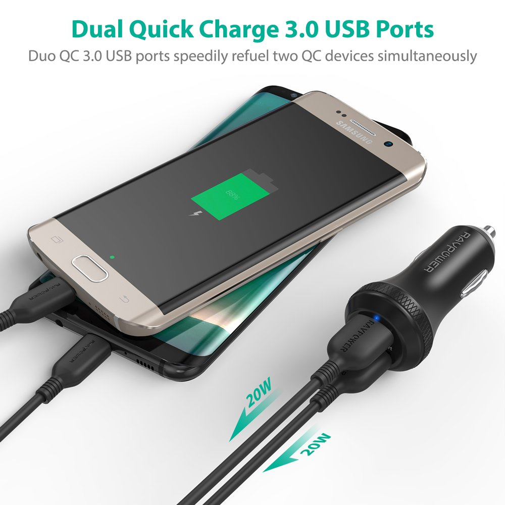 Quick Charge 3.0 Car Charger RAVPower 40W 3A Car Adapter with Dual QC USB Ports for Galaxy S9 S8 Plus Note 8 Note 7, iSmart Tech for iPhone X 8 8 Plus, iPad Pro Air Mini, Pixel, Nexus and More by RAVPower (Image #3)