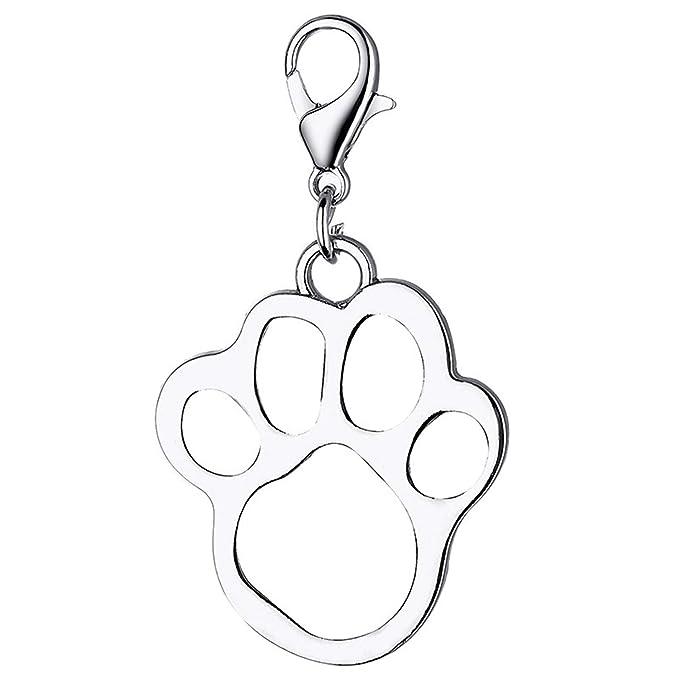 Amazon.com: Llavero de acero inoxidable con huella de perro ...