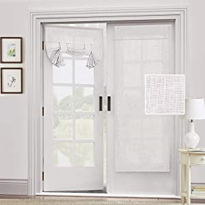 Natural Linen Blended Door Curtain - Privacy French Door Curtain Light Filgtering Tricia Window Door Curtain for Patio Door Sidelight Glass Door Blind Tie Up Shade, 26 x 68 inches, 1 Panel, Off White