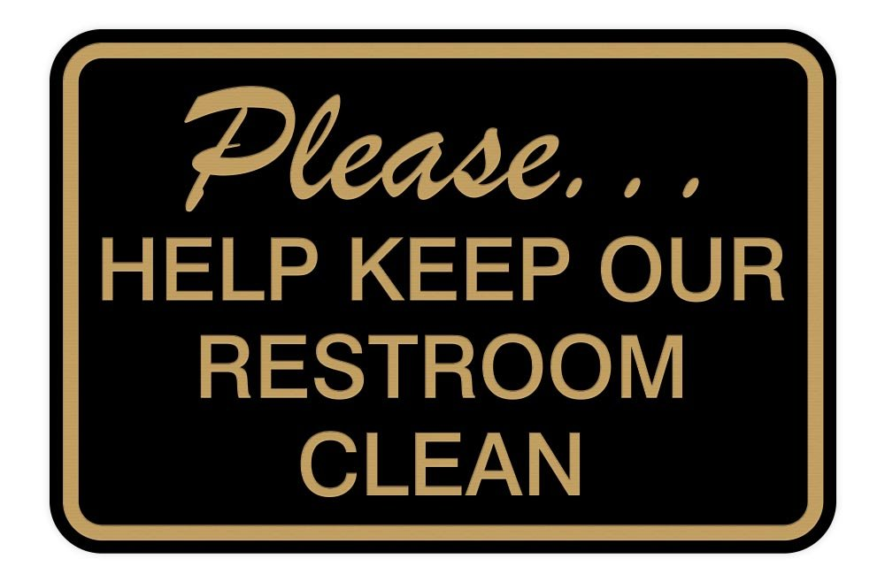 Small Please Help Keep Our Restroom Clean Wall Door Sign Blue