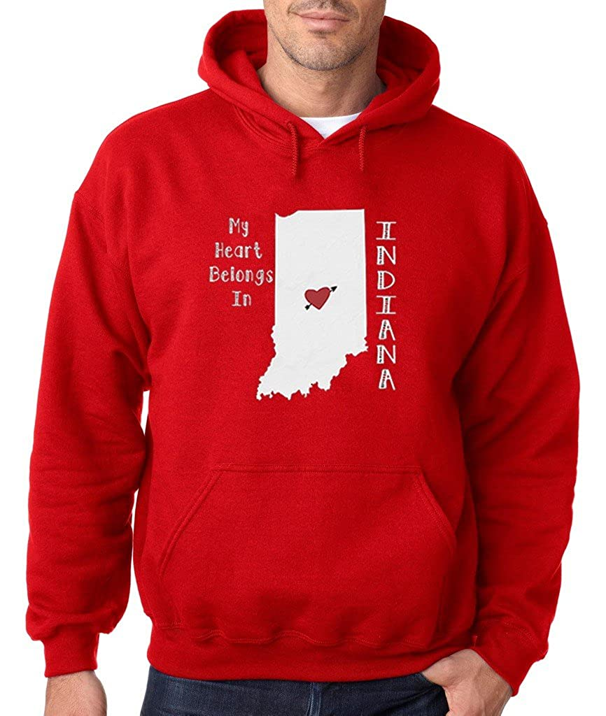 VISHTEA My Heart Belongs in Indiana Hoodie Indiana State Home Sweatshirt