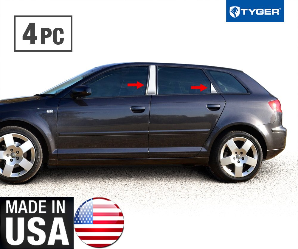 Made in USA! Works With 03-08 Audi A3 4 PC Stainless Steel Chrome Pillar Post Trim MaxMate