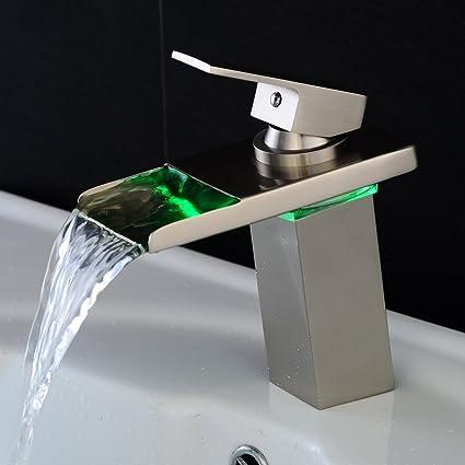 Charming Bakala Led Bathroom Faucet Waterfall Basin Sink Faucet Single Handle Lavatory  Faucet(Brushed Nickle)