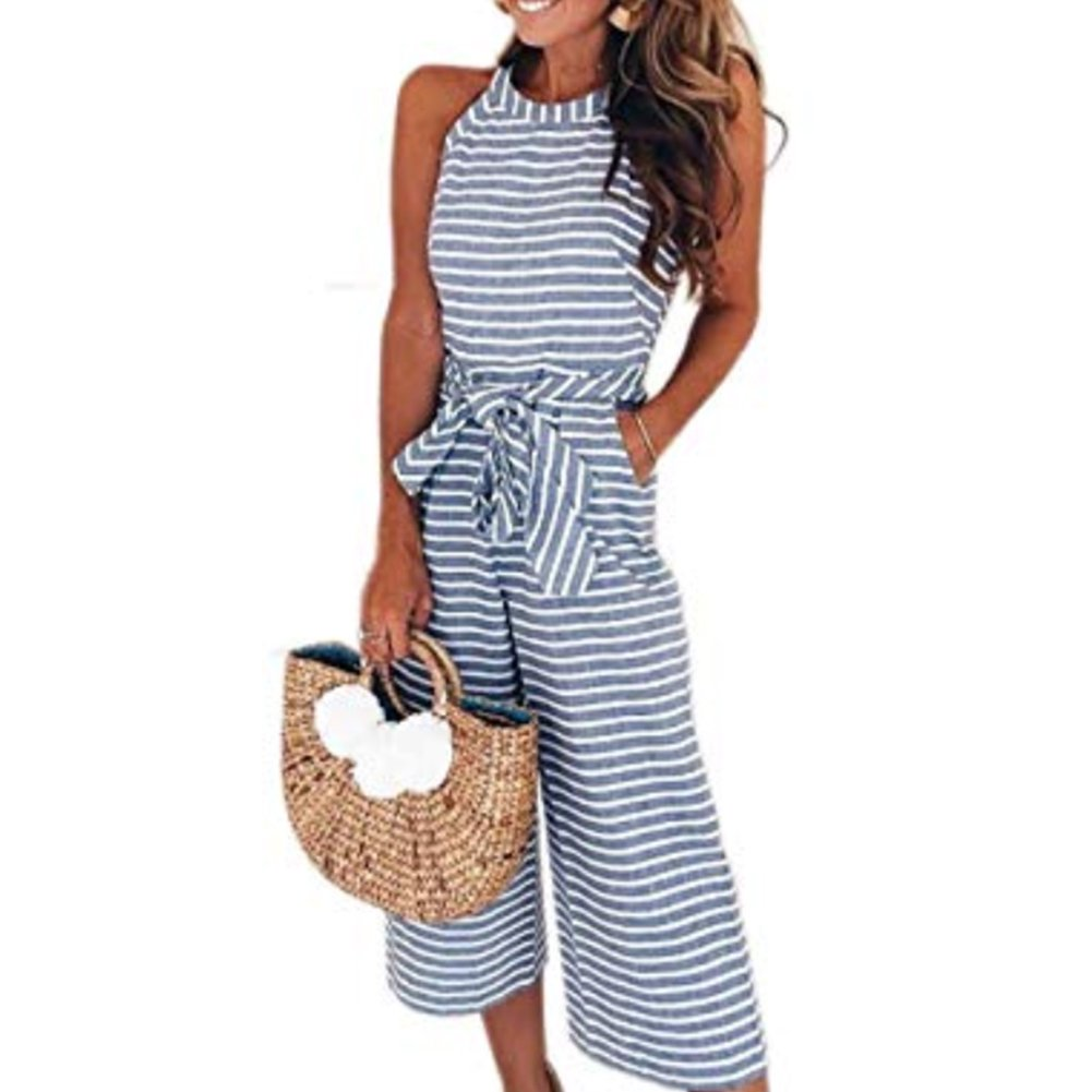 Yaso Women's Casual Striped Sleeveless Waist Belted Zipper Back Wide Leg Loose Jumpsuit Romper with Pockets Blue White M