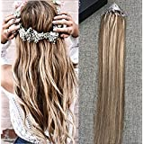 Full Shine 18 inch Honey Blonde #27 Highlited Color #6 Middle Brown Microbeads Hair Extensions Highlights Micro Loop Real Hair Extensions 50 Strand Per Package 50 gram