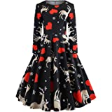 MERICAL New Christmas Dress Womens Long Sleeve Dresses O Neck Printing Knee-Length Vintage Gown