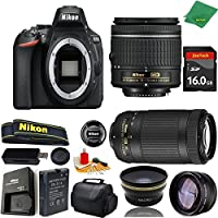 Great Value Bundle for D5600 DSLR – 18-55mm AF-P + 70-300mm AF-P + 16GB Memory + Wide Angle + Telephoto Lens + Case