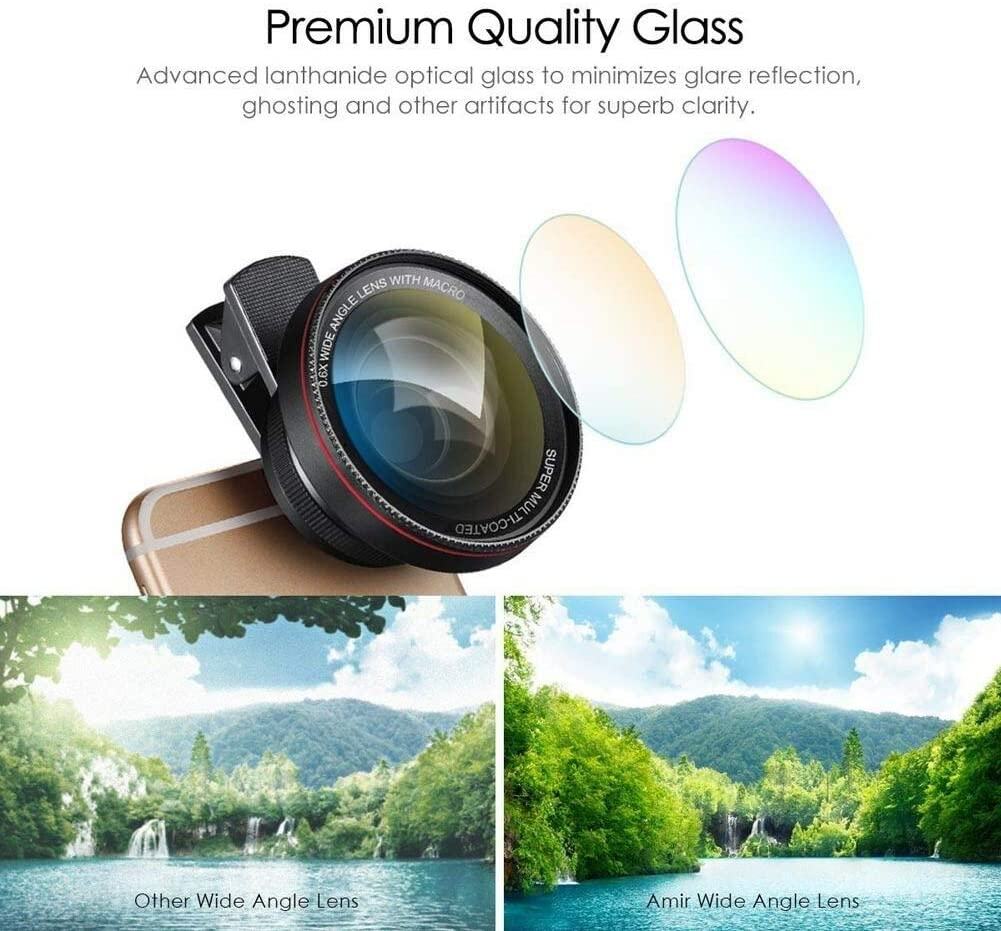 JASZW 0.6X Super Wide Angle Lens Clip-On Cell Phone Lens 2 in 1 HD Camera Lens Kit