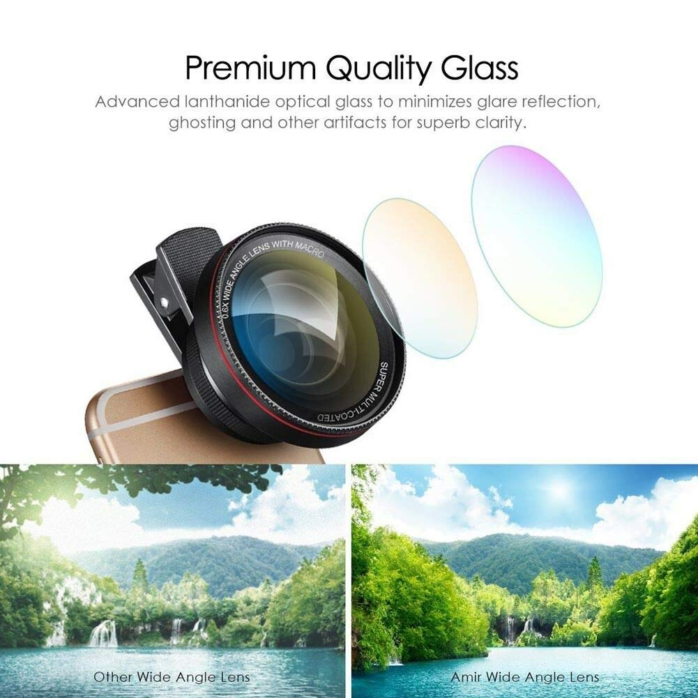 JASZW 0.6X Super Wide Angle Lens Clip-On Cell Phone Lens 2 in 1 HD Camera Lens Kit by JASZW