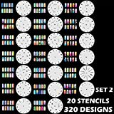 Custom Body Art Airbrush Nail Stencils - Design Series Set # 2 Includes 20 Individual Nail Templates with 16 Designs each for a total 320 Designs of Series #2