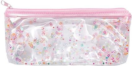 Inverlee Back to School Supplies, estuche para lápices rosa transparente para cosméticos, bolsa de maquillaje, estuche para lápices: Amazon.es: Oficina y papelería