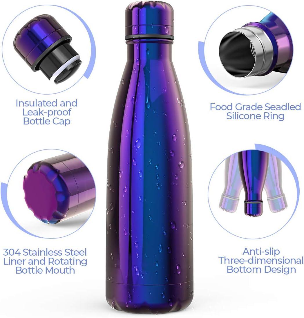 Festnight Botella Agua Acero Inoxidable 500ML Termos Port/átil Libre de BPA Taza Galvanizada con Aislamiento Caliente y Fr/ío para Deportes Escolares Yoga