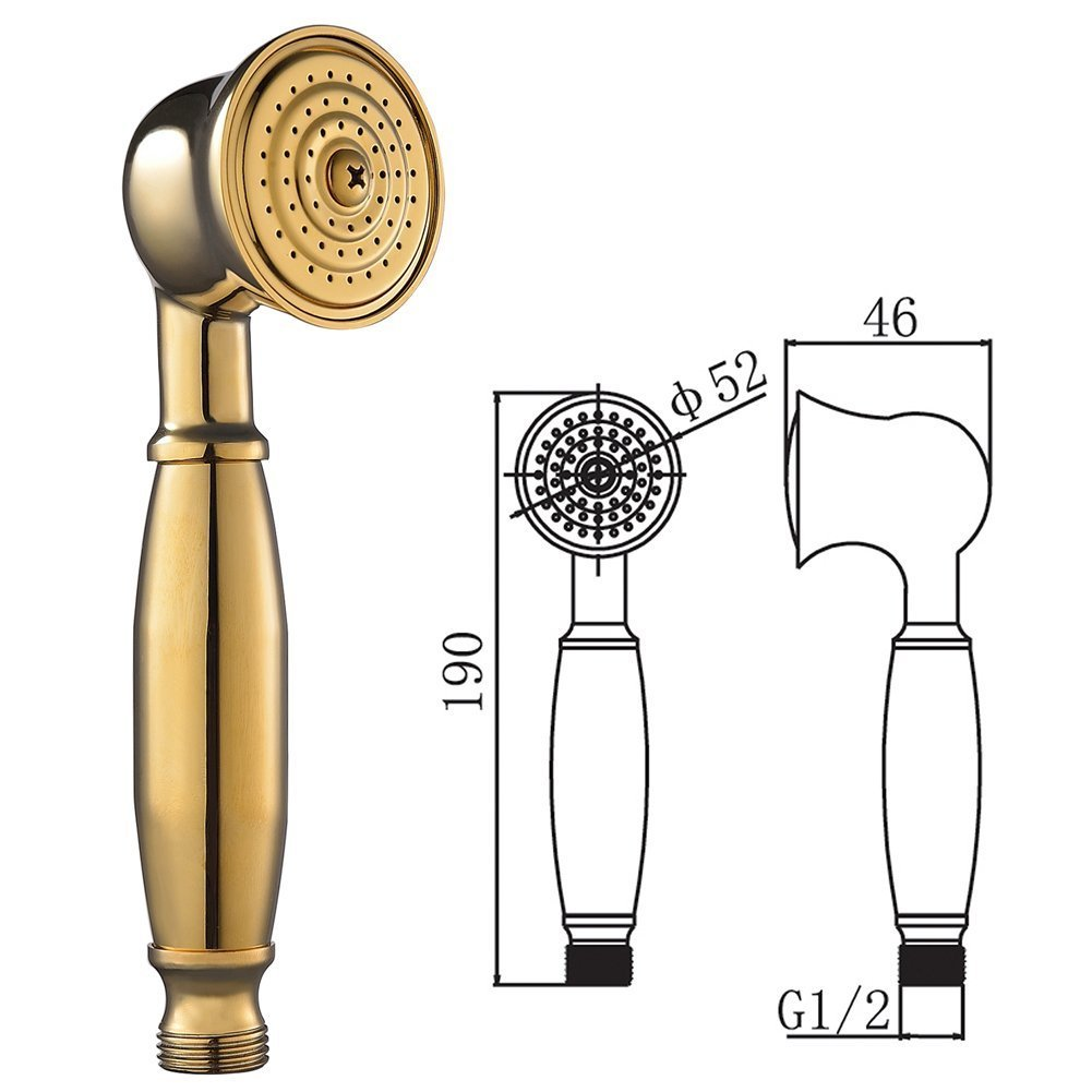 S R SUNRISE Tradizionale Telefoni doccia con ugelli anticalcare in Ottone Titanio in oro SRSH05J