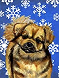 Caroline's Treasures LH9304CHF Tibetan Spaniel Winter Snowflakes Holiday Flag Canvas, Large, Multicolor
