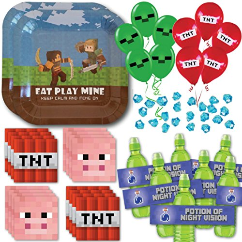 Mining Pixel Party Birthday Supply Pack for 16 (Tent Style Napkin Rings)