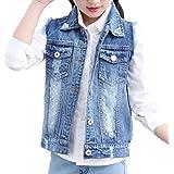 Oushiny Kids' Sleeveless Denim Vest Cute Girls' Gilet 2 Styles for 2-12