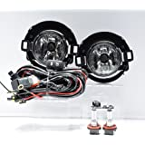 2010 2011 2012 2013 2014 2015 Nissan Frontier Replacement for 999F1-KV000 Fog Light Lamps for Plastic Bumper Clear wiring switch included