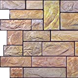 Yellow Stone Cut PVC 3D Wall Panels - Interior Design Wall Paneling Decor Commercial and Residential Application, Brick, 3.2' x 1.6'