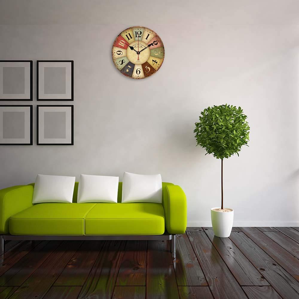 Alicemall Reloj de Pared Decorativo Vintage Reloj Cologado 30 * 30 cm con Mecanismo Silencioso Decoración para Habitación Dormitorio Oficina Bar: Amazon.es: ...