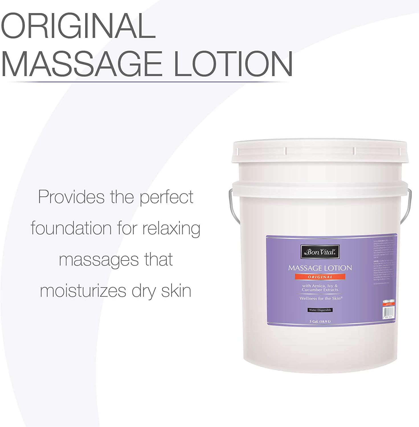 Bon Vital' Original Massage Lotion for a Versatile Massage Foundation to Relax Sore Muscles & Repair Dry Skin, Lightweight, Non-Greasy Formula to Moisturize and Repair Dry Skin, 5 Gallon Pail: Health & Personal Care