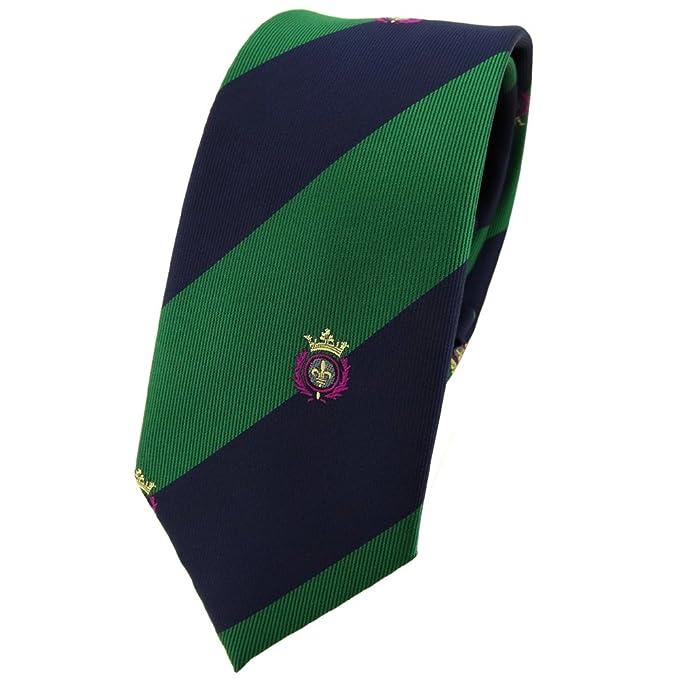 TigerTie - corbata estrecha - verde hoja verde azul oscuro rayas ...