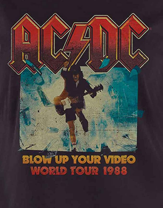 AC//DC T Shirt Blow Up Your Video Band Logo offiziell damen Nue Schwarz Skinny