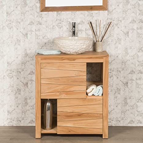 wanda collection Mueble Cuarto DE BAÑO DE Teca Maciza Cosy 70 CM