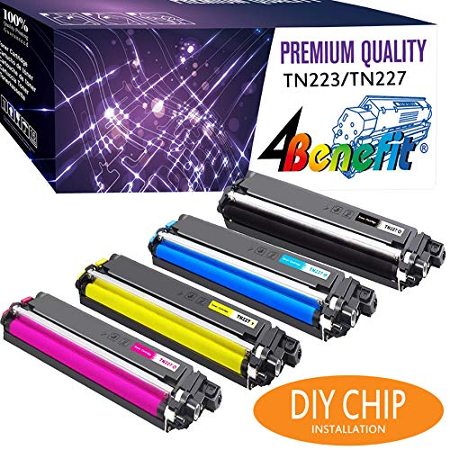 - 4Benefit Compatible Toner Cartridge Replacement for Brother MFC L3750CDW TN227 TN-227 TN227bk TN223 TN-223 Printer (4-Pack)