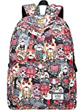 Backpack for Teens, Fashion Cartoon Ghosts Patterns Laptop Backpack College Bags Women Shoulder Bag Daypack Bookbags Travel Bag by Mygreen (Red)