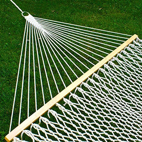 New Double 2 Person Universal Hammock Swing Bed Cotton Solid Wood Spreader Yard Garden Hanging - Great for Outdoors, Patio, Backyard [Beige/White]