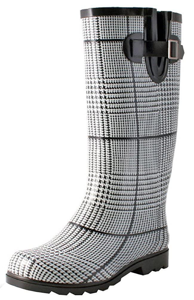 Black White Plaid TWO Nomad Women's Drench colorful Pattern Print Waterproof Rain Boots