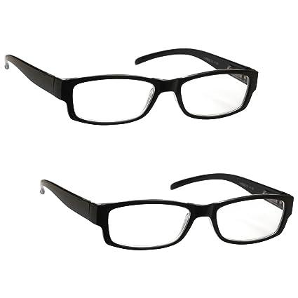 La Compañía Gafas De Lectura Negro Ligero Cómodo Lectores Valor Pack 2 Diseñador del Estilo Hombres Mujeres UVR2PK032 Dioptria +2,50