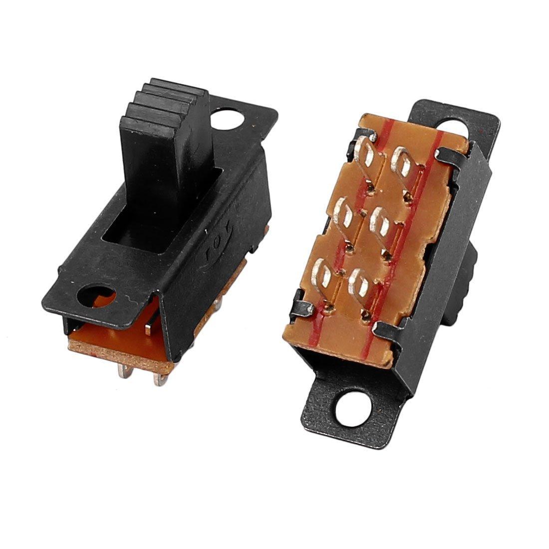 eDealMax 5pcs DPDT 2 Posición 6 terminales de montaje en panel Horizontal interruptor deslizante - - Amazon.com