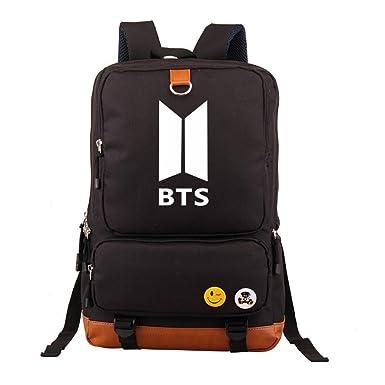 7c1e69df22 YOURNELO Unisex Bangtan Boys BTS Canvas Bag Backpack School Bag Bookbag  Rucksack (ARMY LOGO Black