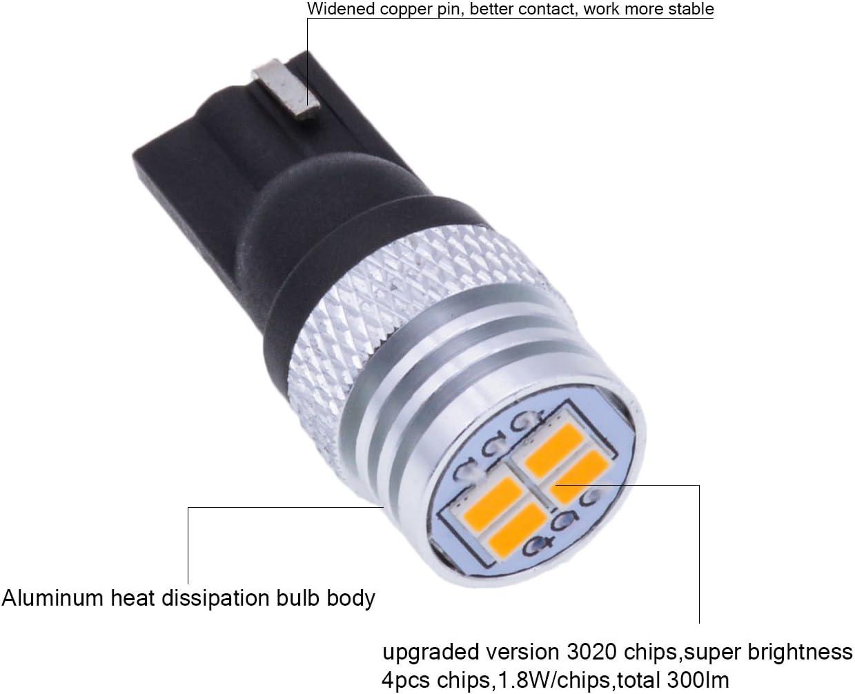 a luce bianca T10 ricambio di lampadine per auto cruscotto targa per interni 168 KaTur W5W 750 Lm 3020 con 4 SMD a LED 194 da DC 12/V bagagliaio 2825