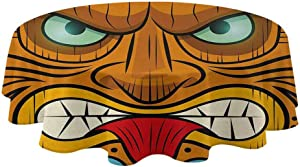 "Tiki Bar Round Outdoor Tablecloth Cartoon Style Angry Looking Tiki Warrior Mask Colorful Icon Totem Culture Print Water Resistant Spill Proof Tablecloths Multicolor (Diameter 36"")"