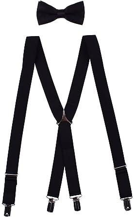 c47e1f28da8d WDSKY Men's Clip on Suspenders and Bow Tie Set Adjustable X Back at ...