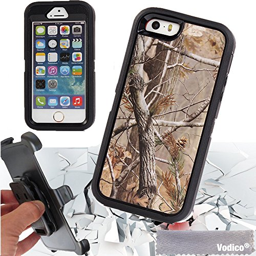 - iPhone 5 5s / 5SE Vodico Hunting Wild Camo Heavy Shockproof Dustproof Drop Scratch Resistant Full Body Protective Case with Belt Clip Holster Built-in Screen Protective for iphone 5s/5 - Tree Black