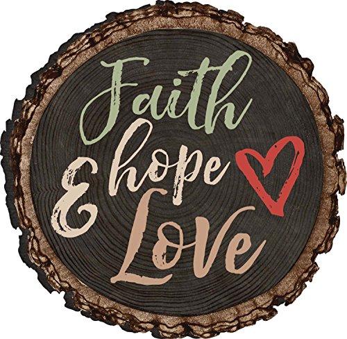 Faith Hope And Love Heart Rustic Bark Look Wood Circle Magnet